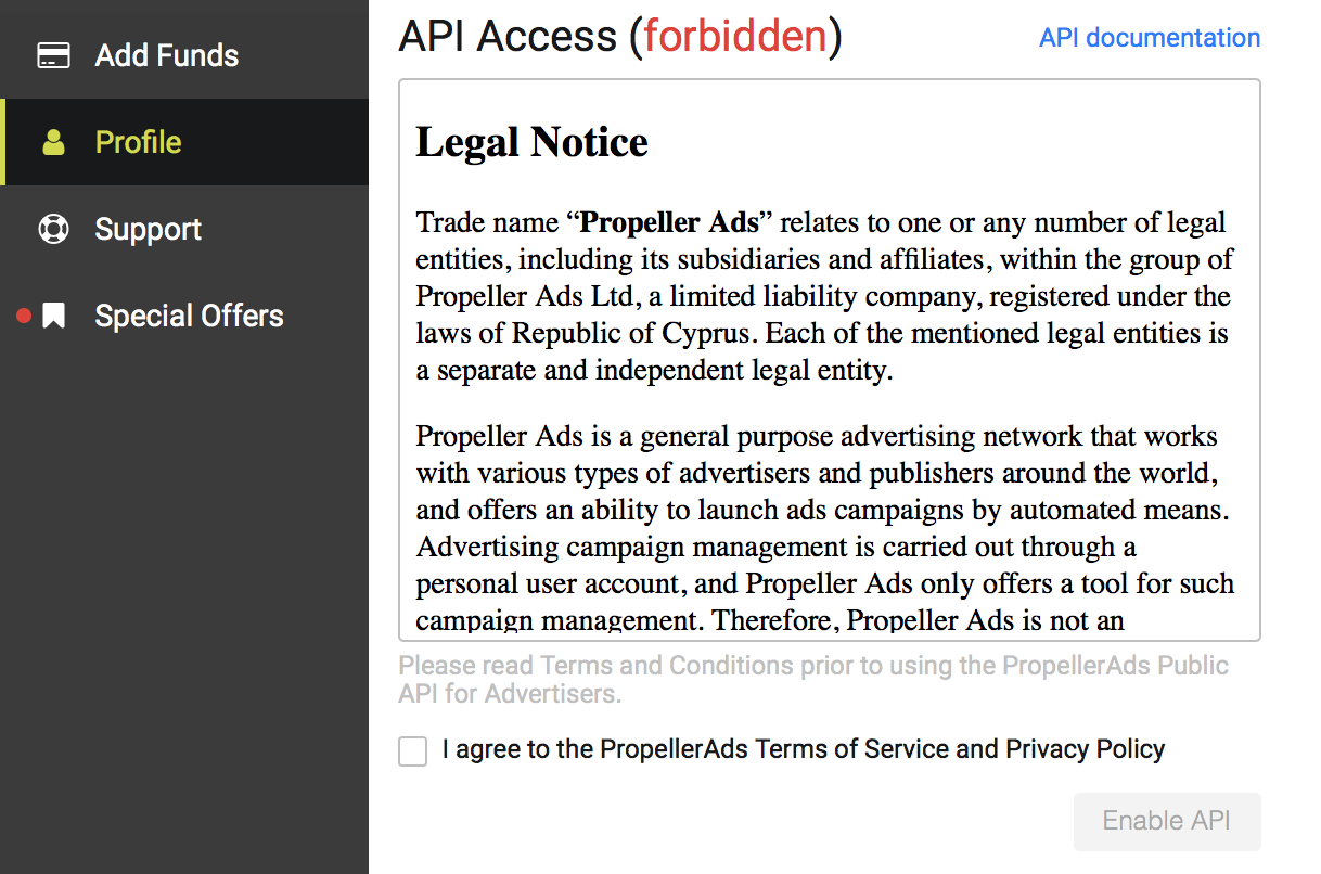 API -forbidden
