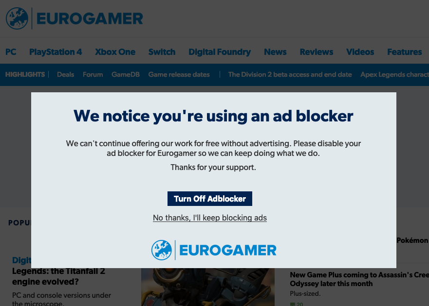Eurogamer adblock detection