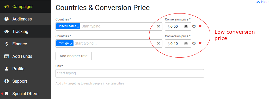 SmartCPA - Low conversion price