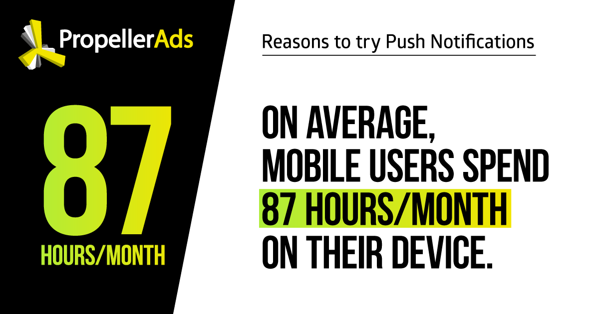 Push notifications_users spend 87 hours a month on mobile devices