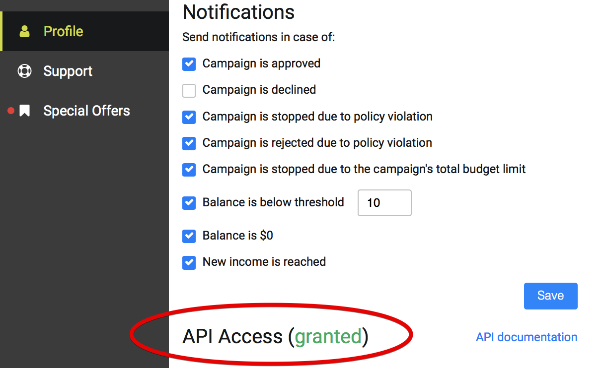 API access granted