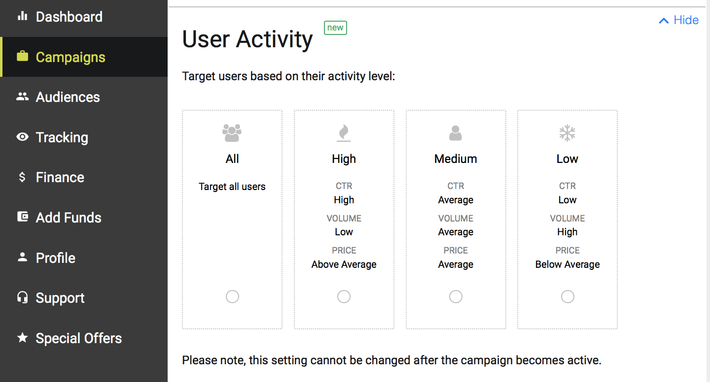 user activity targeting