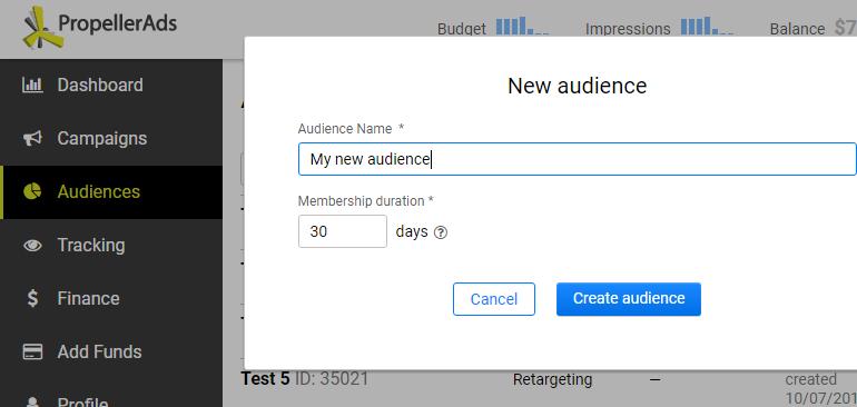Create new retargeting audience