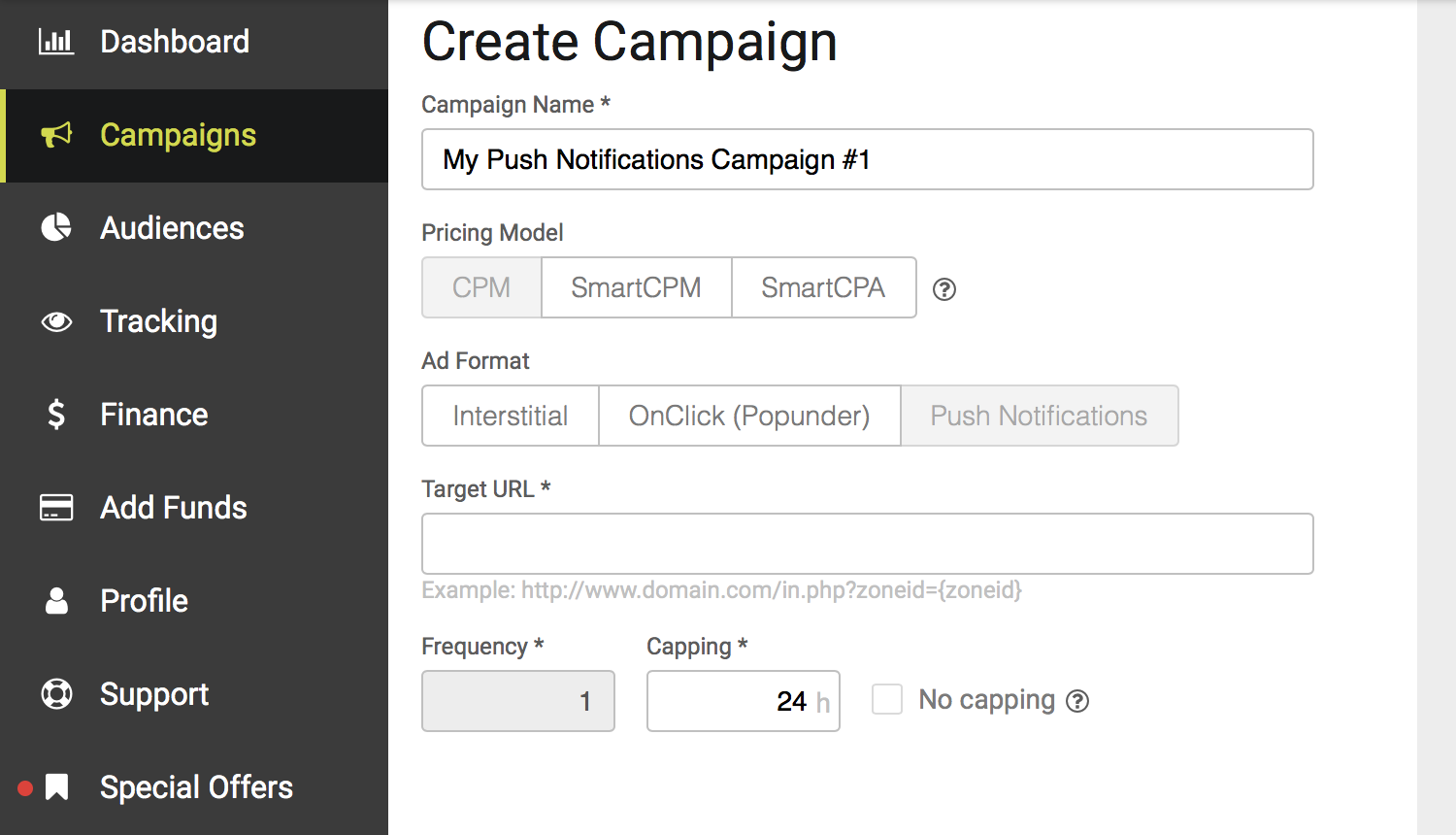 Create Push Notifications Campaign