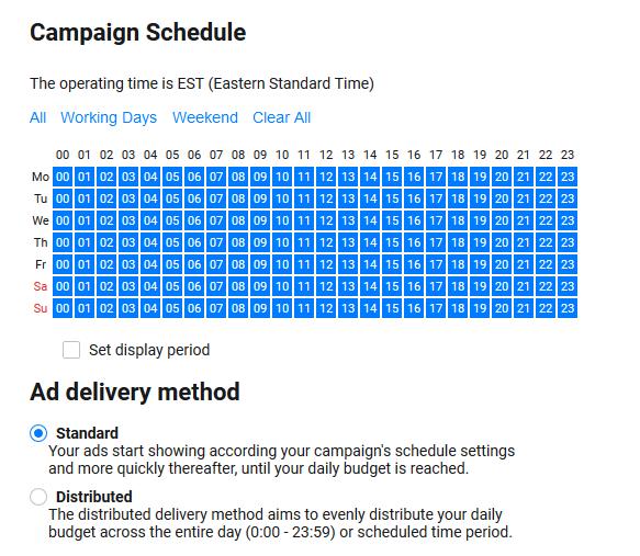 ad schedule