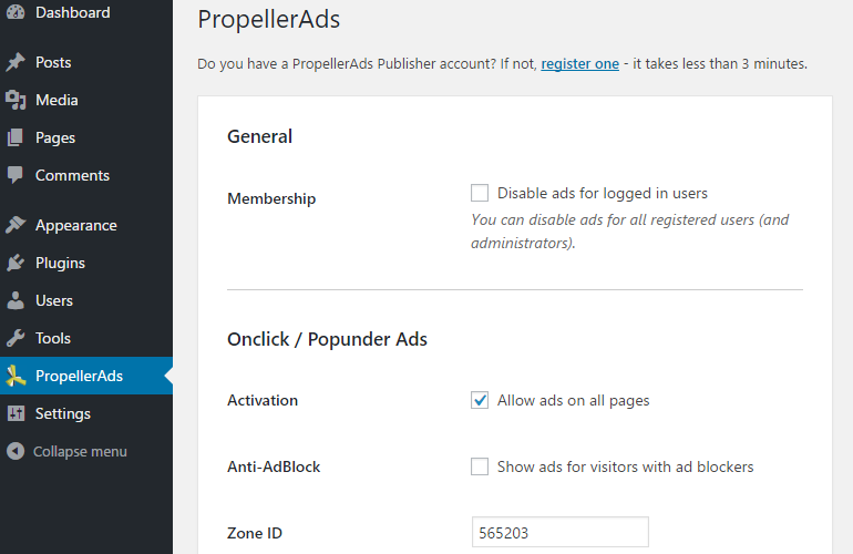 Install PropellerAds Plugin for WordPress
