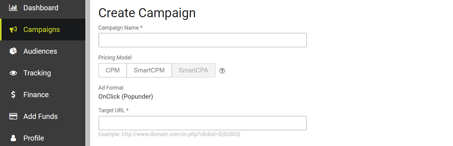 SmartCPA step #2 - create campaign