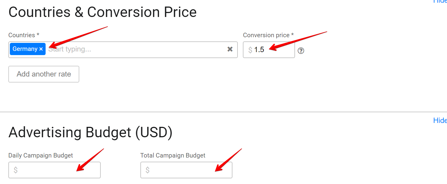 SmartCPA step #3 - countries and prices
