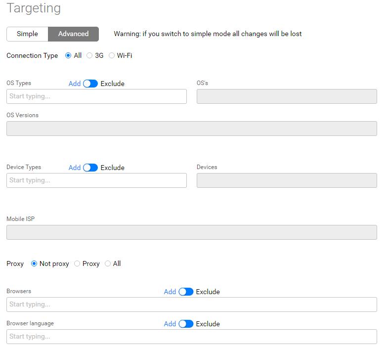 Advanced targeting settings