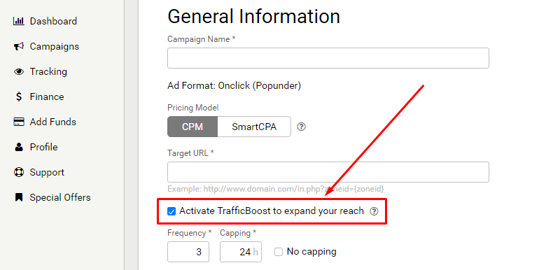 Enable Traffic Boost