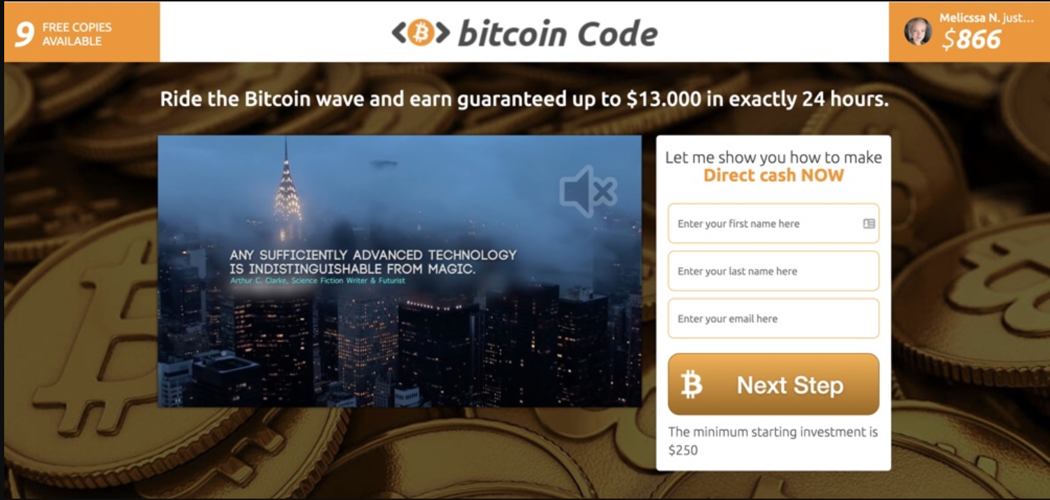 propellerads - bitcoin code - audiences 2 - landing page