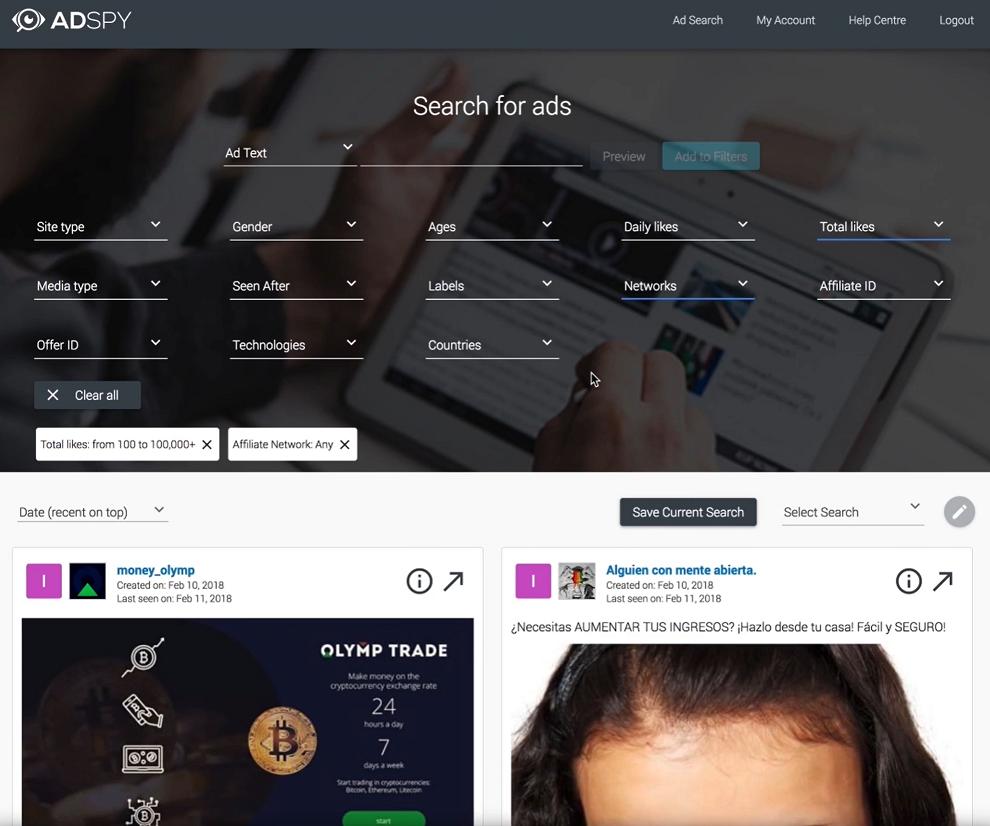 AdSpy Dashboard