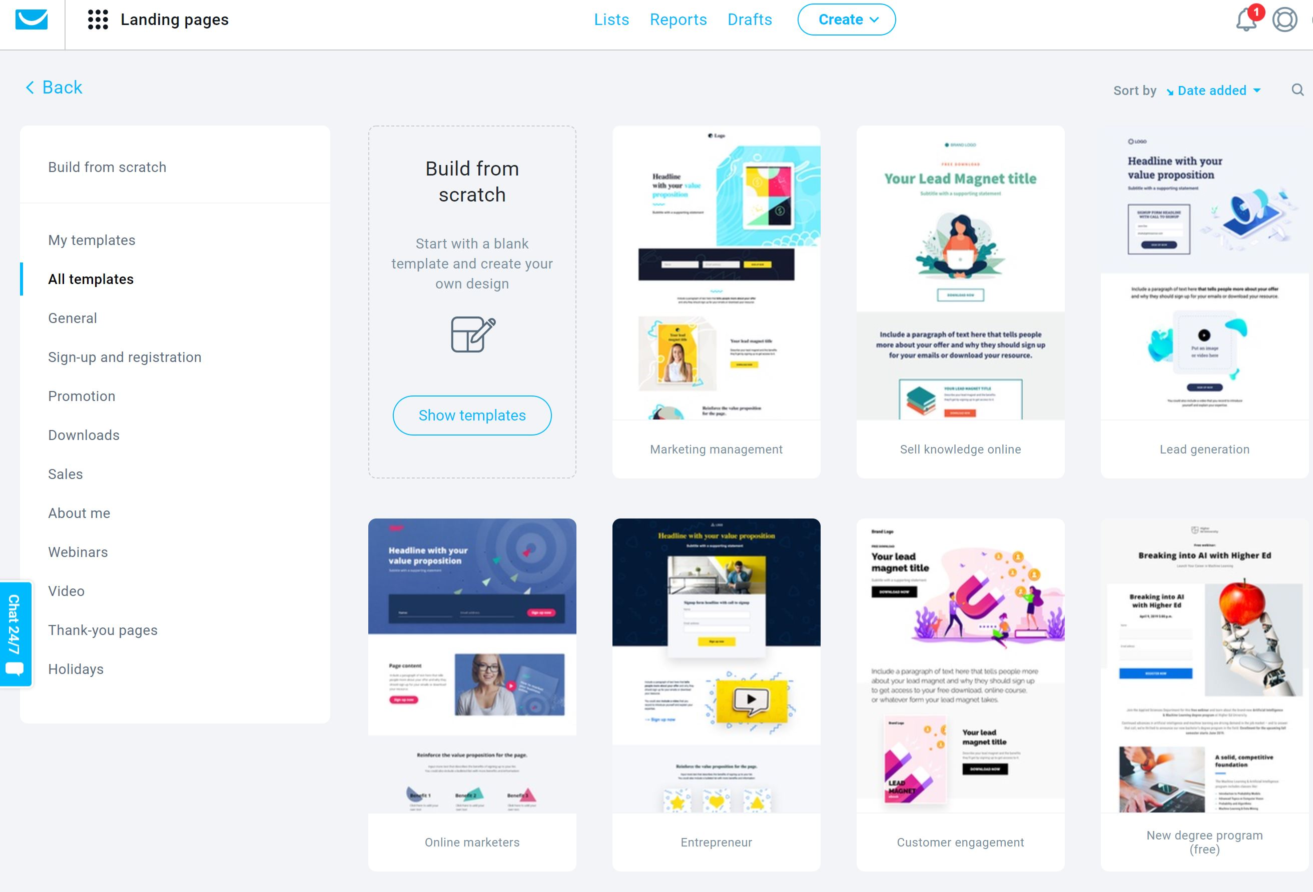 GetResponse Lanfin Page Builder